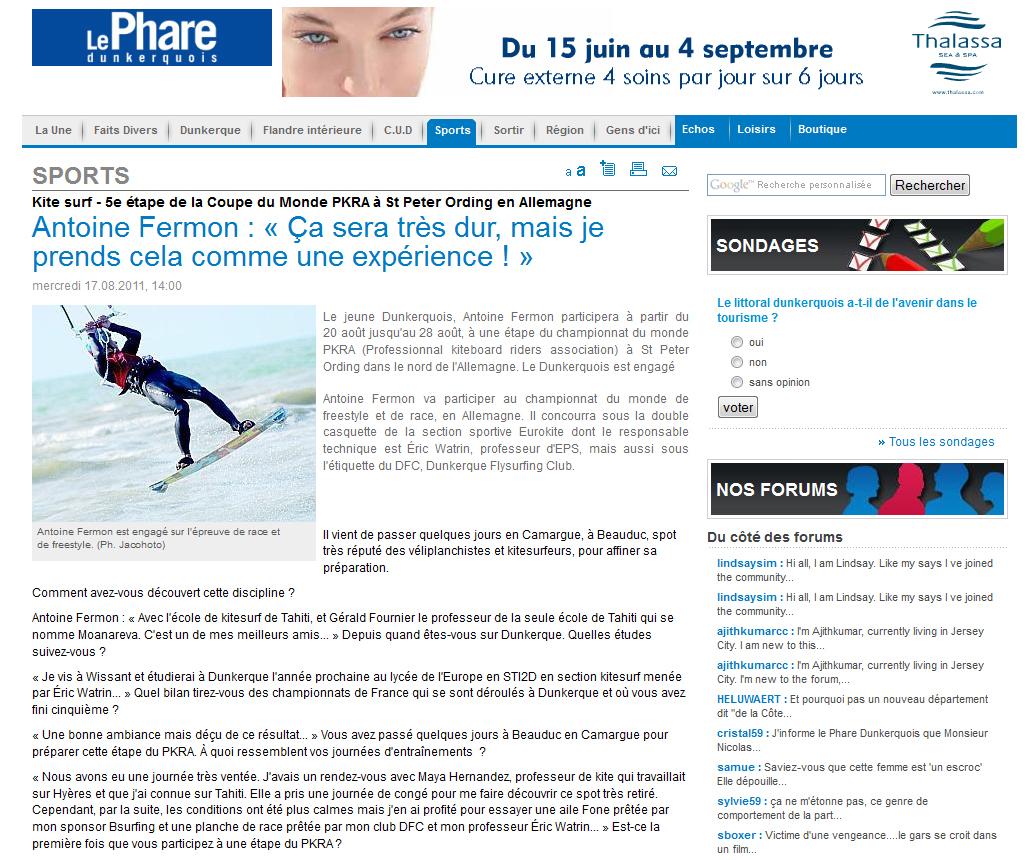 Interview d'Antoine FERMON dans le Phare Dunkerquois