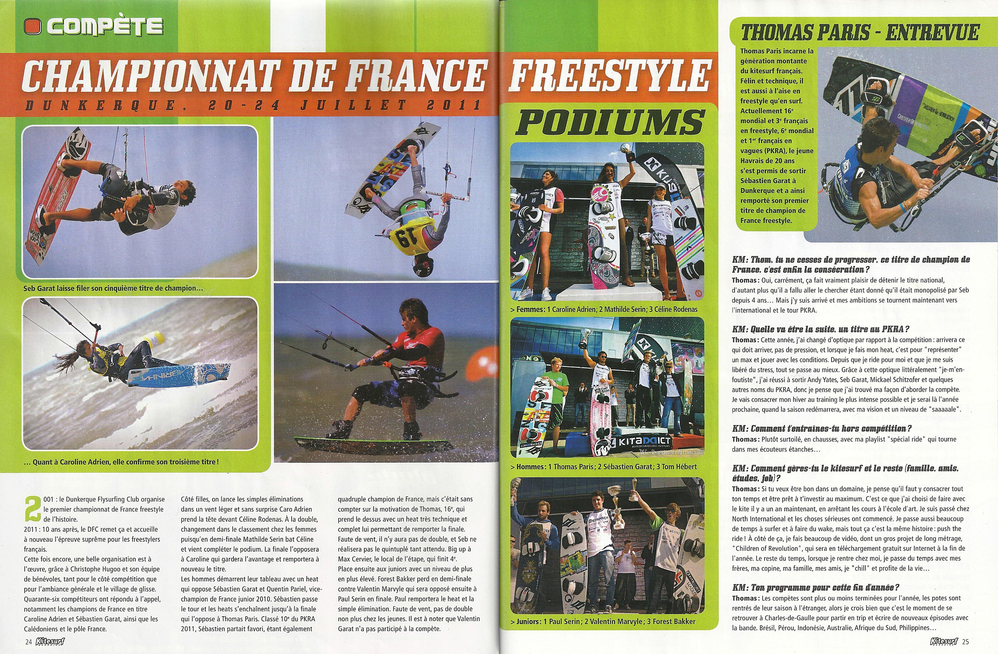 Kitesurf Magazine fait l'article sur le C.F. Freestyle 2011