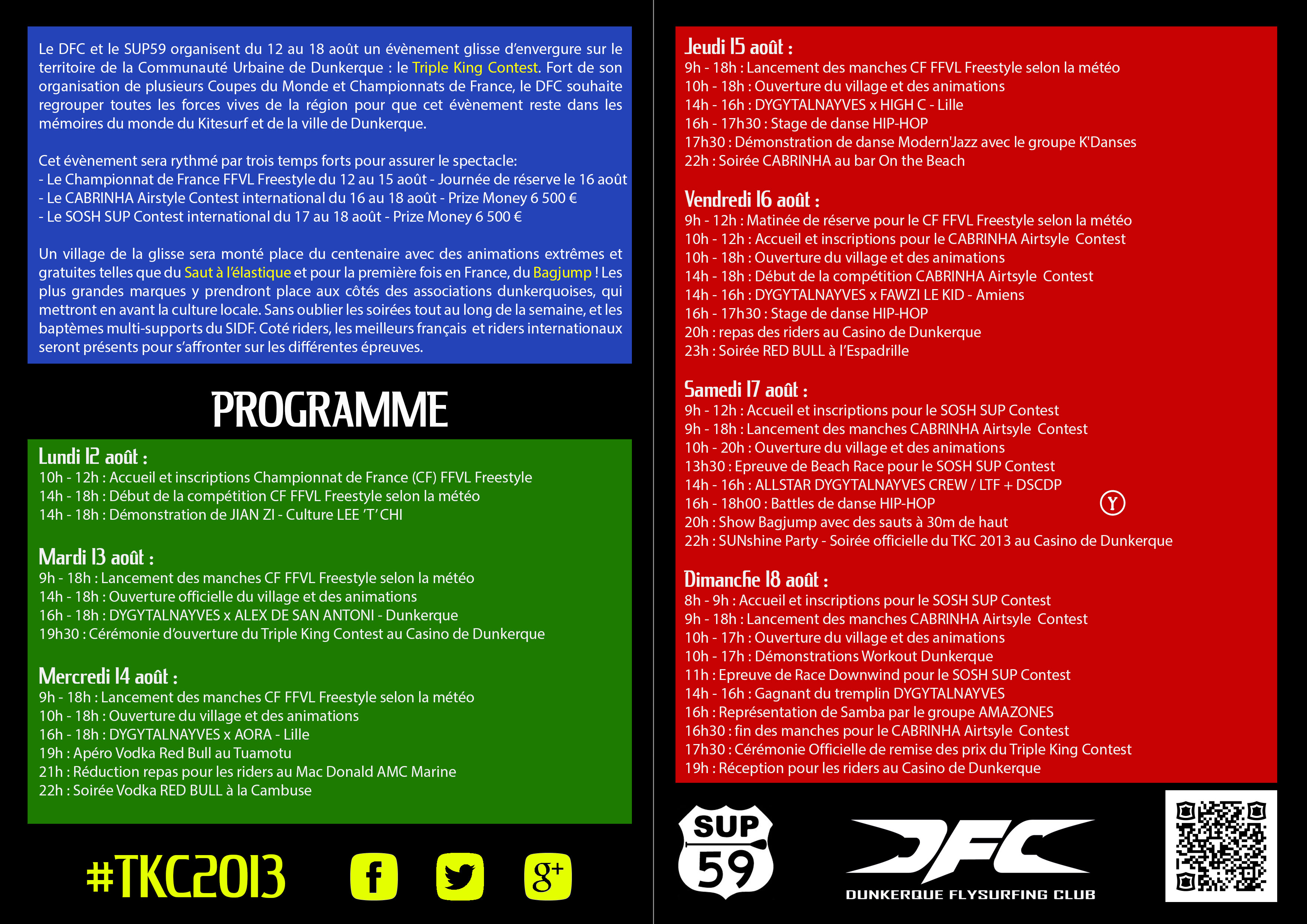 Programme du Triple King Contest